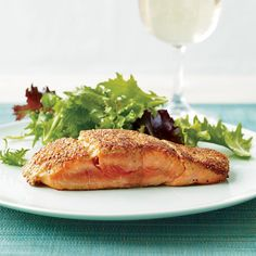 Triple-Mustard Salmon   Marcia Kiesel coats fish with Dijon mustard amped up with dry mustard, then dips the fillets into mustard seeds and wheat germ to create a crust.