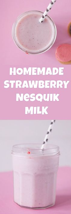 This is a homemade recipe for Nesquik Strawberry Milk using fresh strawberries. It tastes just like you remember as a kid!