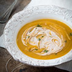 Curried Butternut Squash Soup with Spiced Goat Cheese Recipe