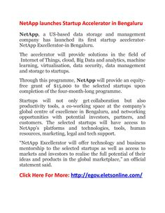 Netapp launches startup accelerator in bengaluru