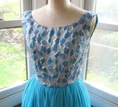 #VCAT 60s Blue Silver Brocade Chiffon Party Dress by BijouVintageBazaar, $48.99