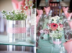 tin can deco Table Flower Arrangements, Wedding Arrangements, Table Flowers, Flower Vases, Diy Flower, Flower Pots, Wedding Themes, Diy Wedding, Wedding Flowers
