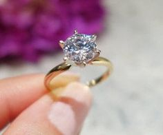 A Perfect 14K Gold 3CT Round Cut Solitaire Russian Lab Diamond Ring