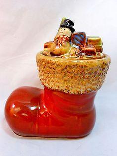 Red Santa Boot Candy Jar Christmas Holiday Cookies Treats Ceramic Toys Presents