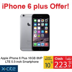 Apple iPhone 6 Plus 16GB 8MP LTE 5.5-inch Smartphone available  online and in our showrooms for 223.900KD Credit price: 10KD  http://www.xcite.com/phones/mobile-phones/apple/apple-iphone-6-plus-16gb-8mp-lte-5-5-inch-smartphone-grey-2.html