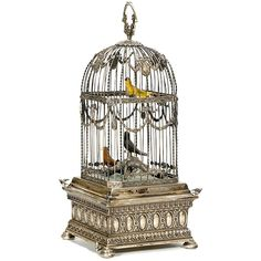 Triple Singing Bird Cage in Silver Case music box