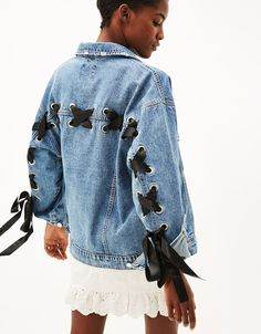 Denim jacket with ties - Coats & Jackets - Bershka United Kingdom