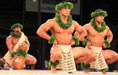 The men of hālau Ke Kai O Kahiki at Merrie 2013 Monarch Festival, Hilo, Hawai'i.