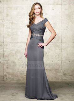 A-Line/Princess V-neck Sweep Train Ruffle Beading Chiffon Charmeuse Zipper Up Cap Straps Sleeveless No Other Colors General Mother of the Bride Dress