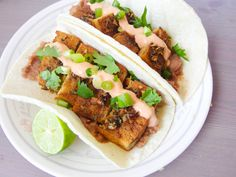 Tequila Lime Baked Tofu Tacos with Chipotle Crema