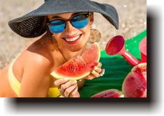eating watermelon on the beach. Young woman in hat eating fresh watermelon ,Woman eating watermelon on the beach. Young woman in hat eating fresh watermelon , Images Of Summer, Eating Watermelon, Young Women, Hats For Women, Stock Photos, Estate 2015, Woman Beach, Fotografia, Eat Healthy
