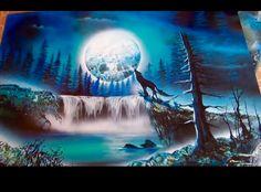 Wolf and moon spray paint art