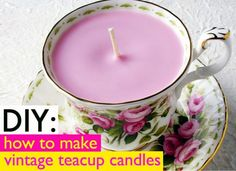 Teacup Candles Christmas Crafts to Make.would look beautiful in a cup & saucer stand.Lovely Teacup Candles Christmas Crafts to Make.would look beautiful in a cup & saucer stand. Homemade Candles, Diy Candles, Scented Candles, Homemade Gifts, Diy Gifts, Candle Gifts, Ideas Candles, Homemade Tea, Candle Art