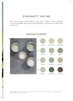 Farrow & Ball: Cromarty No. 285 muted greens for bathroom Farrow And Ball Living Room, Farrow And Ball Kitchen, Farrow And Ball Paint, Farrow Ball, House Color Schemes, Colour Schemes, House Colors, Color Combos, Living Room Inspiration