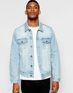 $43, Asos Brand Skinny Fit Denim Jacket In Bleach Wash. Sold by Asos. Click for more info: https://lookastic.com/men/shop_items/375751/redirect