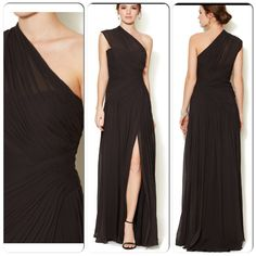 Monique L'Huillier bridesmaid dress. Gorgeous in black for a black and white wedding. Also available in a dark merlot red color.