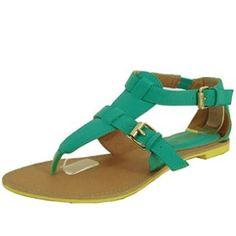 Qupid Athena-529 Gladiator Thong Flat Sandal (10, Sea Green) Qupid. $8.99