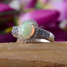 Ethiopian Welo Opal, Tanzanite, and Simulated Diamond Ring in Platinum Overlay Sterling Silver (Nickel Free)