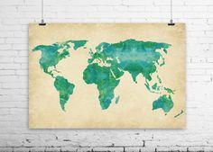 Watercolor World Map Art Print - Green Blue Earthy Jewel-toned Painting Print - World Globe Travel Art Dorm Decor