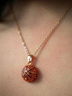 Lisa's Rhinestone Basketball Pendant Necklace