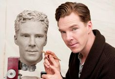Cutting cheekbones in wax.