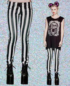Girls Striped Skinny Stretch Jeans in BLACK/WHITE by Lip Service