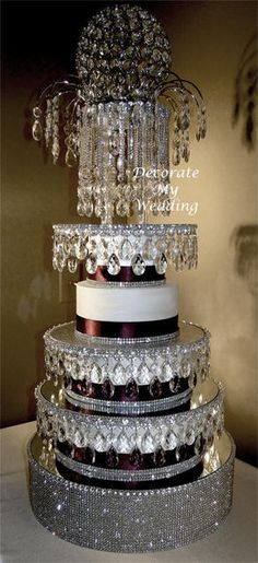 """""""Mandy & Melissa"""" Crystal Cake Stand  & Cake Separators / http://www.decoratemywedding.com/crystal_cake/all_cakes.htm"""