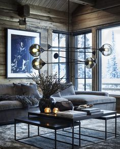 〚 Exquisite contemporary chalet in Norway〛interior design home decor idea inspiration cozy style wooden cottage dark atmosphere sofa 570198002821201820 Chalet Interior, Decor Interior Design, Interior Decorating, Interior Livingroom, Luxury Interior, Decorating Ideas, Dark Interiors, Cottage Interiors, Rustic Interiors