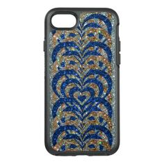 #gold - #Blue & Gold Glitter Spiral Vortex Hearts Silver - OtterBox Symmetry iPhone 7 Case