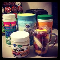Instagram smoothie with CPC! Looks like Coconut Oil, Calm Plus Calcium, Raw Protein Powder, and the Amazing Grass Superfood blend + plenty of fruit!