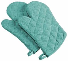"""Amazon.com: Custom & Durable {13"""" x 7"""" Inch} 2 Set Pack, Big Size """"Non-Slip"""" Pot Holders Glove Made of Cotton for Carrying Hot Dishes w/ Colored Quilted Heat Resistant Modern Pastel Style [Aqua]: Home & Kitchen"""