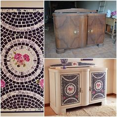 Vibrante y enérgico, pero sobre todo muy original! Este vajillero de estilo art decó, lleva un llamativo trabajo de mosaico de papel ...