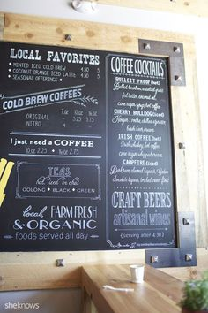 Right side view of a huge x tall coffee shop chalkboard menu. Handpainted and custom designed. Coffee Shop Menu, Coffee Shop Design, Coffee Shops, Coffee Lovers, Coffee Maker, Coffee Girl, Coffee Creamer, Chalk Menu, Chalkboard Art