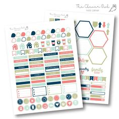 Navy and Mint Feathered My Life Planner - Coordinating Stickers