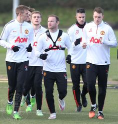 Rooney, Fletch, Jones, RvP at pre-Southampton training. 9.1.2015