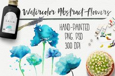 Watercolor abstract flowers by Jeanina Vlad on @creativemarket