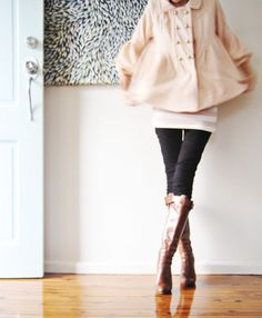 loving this pale pink short coat over pink & white striped top w/tight legged pants & great brown boots