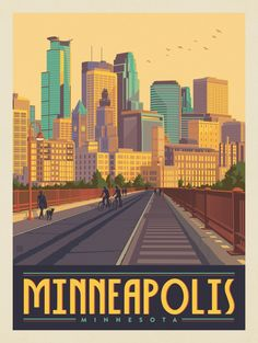 Minneapolis Skyline, Minneapolis Minnesota, Poster City, Arch Bridge, Paint By Number, Vintage Travel Posters, Pictures To Paint, Travel Usa, Beach Travel