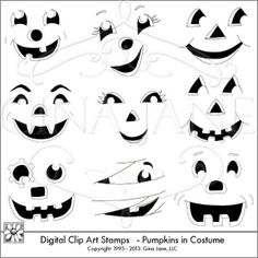 Halloween Pumpkin Faces - Clip Art - Digital Stamps - Stencils or Templates for making cute Halloween Pumpkins.  Print on vinyl, iron on t-shirts, make cute faces on cards, stationery, candy bar wrappers. Nine PNG graphics for  DIY Pumpkin Faces Clip art of Scarecrow, Witch, Elvira, Vampire, Mummy, Dracula, Robot, Angel, Cowboy  ---- Gina Jane Designs - DAISIE Comp...
