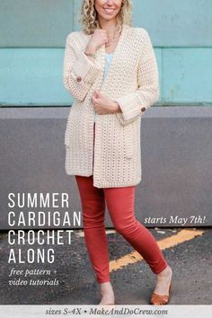 The Alchemy Cardigan Crochet Along 2018! Join Make & Do Crew and LoveCrochet.com each each week in May to learn to crochet your own modern, lightweight cardigan, aided by real-time support and weekly step-by-step video tutorials! Improve your skills and make a sweater you're proud of! Featuring DK weight Lion Brand Vanna's Style. #crochet #crochetalong #free #pattern #freepattern #cardigan #sweater #tutorial #easy #video #spring #summer #button #pockets #lace #mesh #doublecrochet