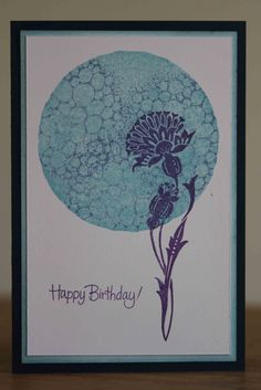 one layer card with large circle in blue with bubbles and a purple fantasy flower silhouette overlay.luv the colors and balance. Hand Made Greeting Cards, Making Greeting Cards, Card Making Inspiration, Making Ideas, Birthday Cards, Happy Birthday, Flower Silhouette, Gelli Arts, Baroque Art