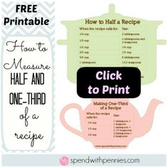 FREE Printable:  How to Measure Half or One-Third of a Recipe!