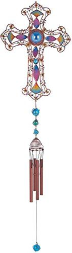 StealStreet SSG99904 Wind Chime Copper  Gem Cross Hanging Garden Decoration Collection ** This is an Amazon Associate's Pin. Details on product can be viewed on Amazon website by clicking the image.