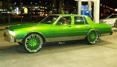 Candy Green Chevy Box on Forgiatos Chevy Caprice Classic, Chevrolet Caprice, Car Chevrolet, Candy Car, Donk Cars, Pontiac, Rims For Cars, Old School Cars, Audi Q7