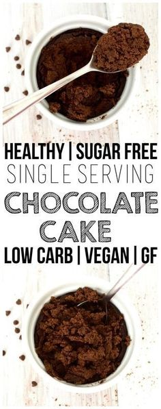 Healthy Single-Serving Chocolate Cake! (Low, Carb, High-Protein, Sugar-Free, Vegan, Paleo, Gluten-Free)