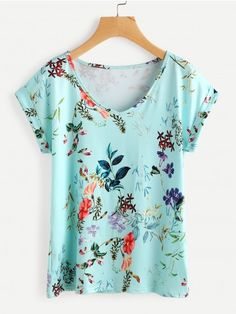 Shop Rolled Cuff Flower Print T-shirt online. SheIn offers Rolled Cuff Flower Print T-shirt & more to fit your fashionable needs. Cute Tops, Casual Tops, Flower Prints, Printed Shirts, Shirt Style, Nice Dresses, Floral Tops, T Shirt, Clothes For Women