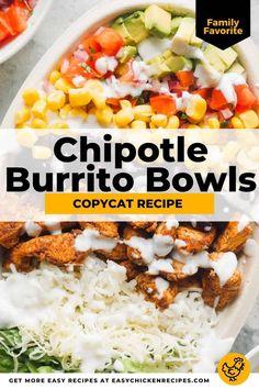 Chicken Burrito Bowl, Chicken Burritos, Burrito Bowl Meal Prep, Easy Burrito Recipe, Tacos And Burritos, Chicken Quesadillas, Yummy Chicken Recipes, Mexican Food Recipes, Mexican Bowl Recipe