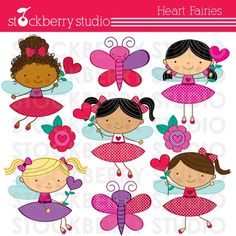 Heart Stick Figure Fairies Personal and Commerical Use Clipart Set Crafting, Cards, Stationery and more. $5.00, via Etsy.