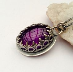 Handmade Silver Amethyst Pendant Necklace by EONDesignJewelry