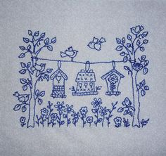 Garden of Birds Embroidery made by Ann Haley. Designed by Robin Kingsley from the book Little Birds.